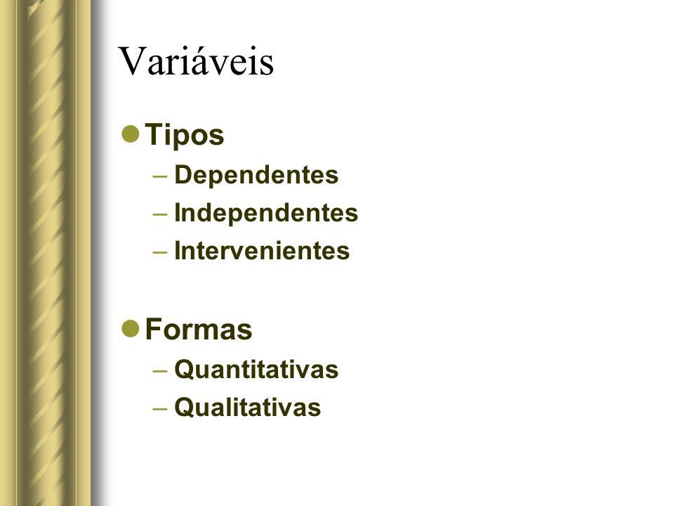 Variáveis Tipos Formas Dependentes Independentes Intervenientes