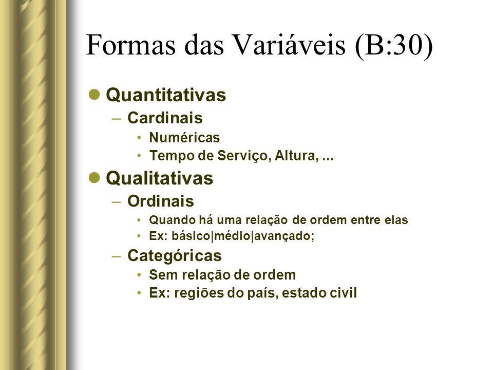 Formas das Variáveis (B:30)