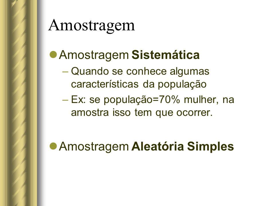 Amostragem Amostragem Sistemática Amostragem Aleatória Simples