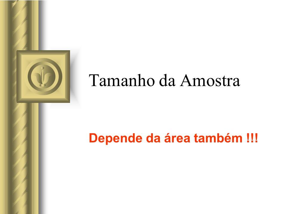 Tamanho da Amostra Depende da área também !!!