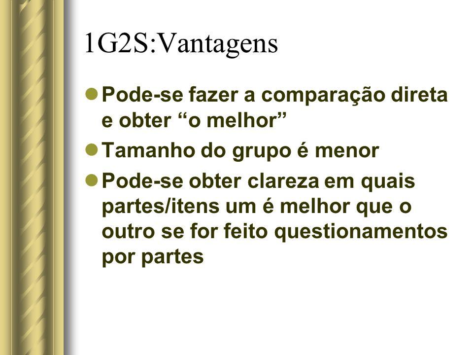1G2S:Vantagens Pode-se fazer a comparação direta e obter o melhor