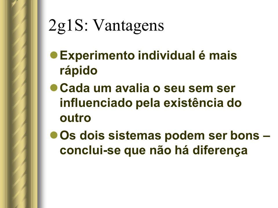 2g1S: Vantagens Experimento individual é mais rápido