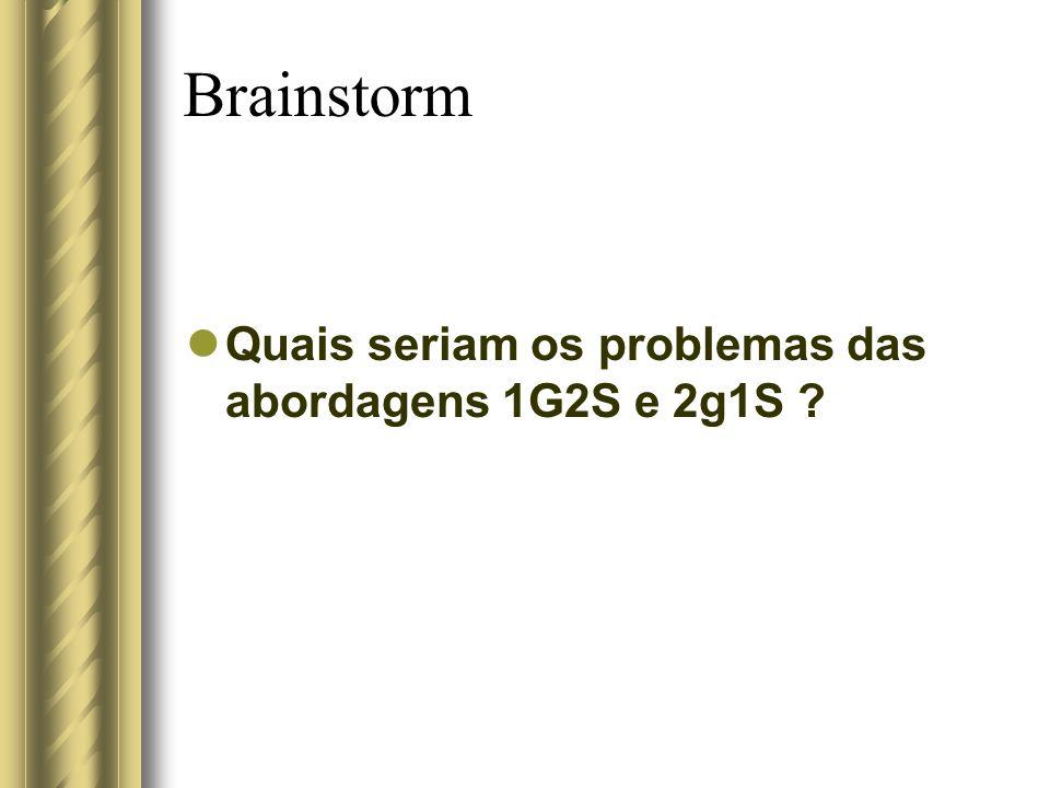 Brainstorm Quais seriam os problemas das abordagens 1G2S e 2g1S