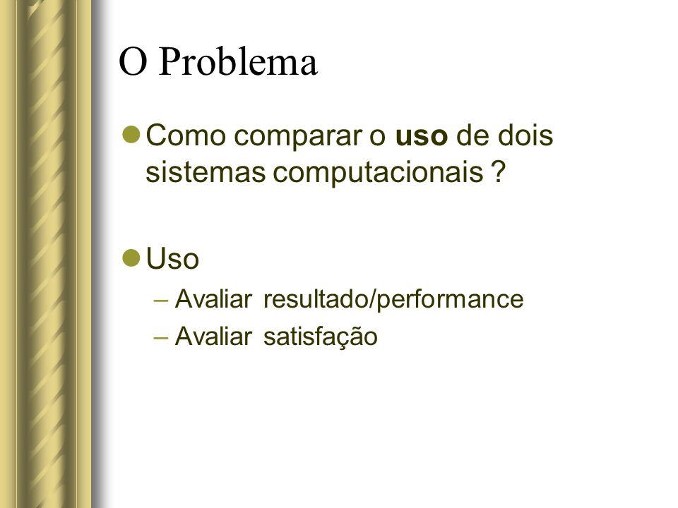 O Problema Como comparar o uso de dois sistemas computacionais Uso