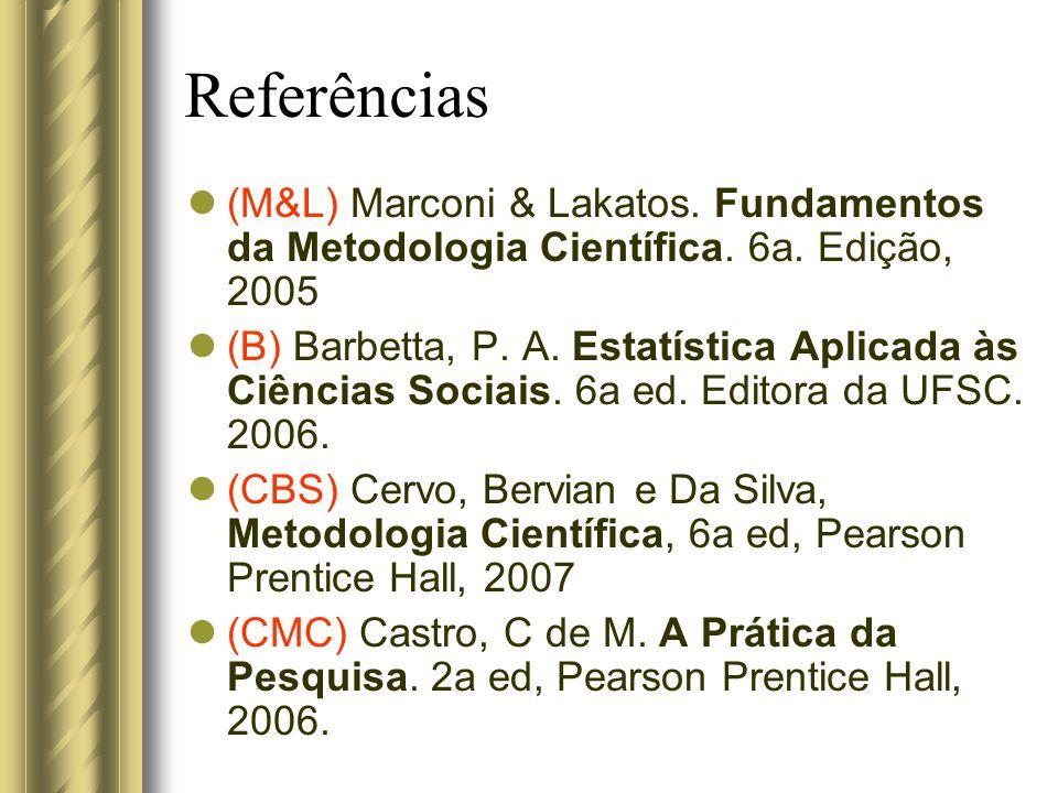 Referências (M&L) Marconi & Lakatos. Fundamentos da Metodologia Científica. 6a. Edição, 2005.