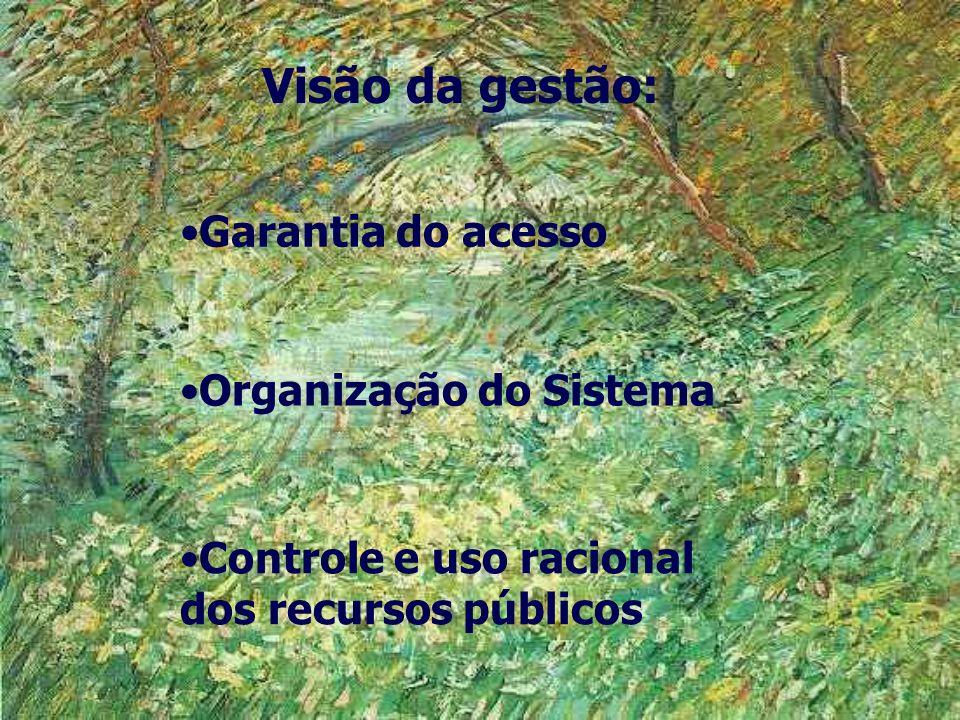 Visão da gestão: Garantia do acesso Organização do Sistema