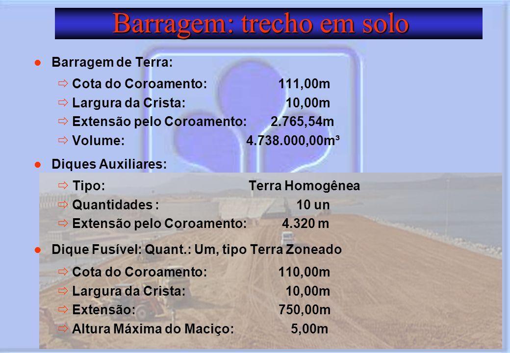 Barragem: trecho em solo