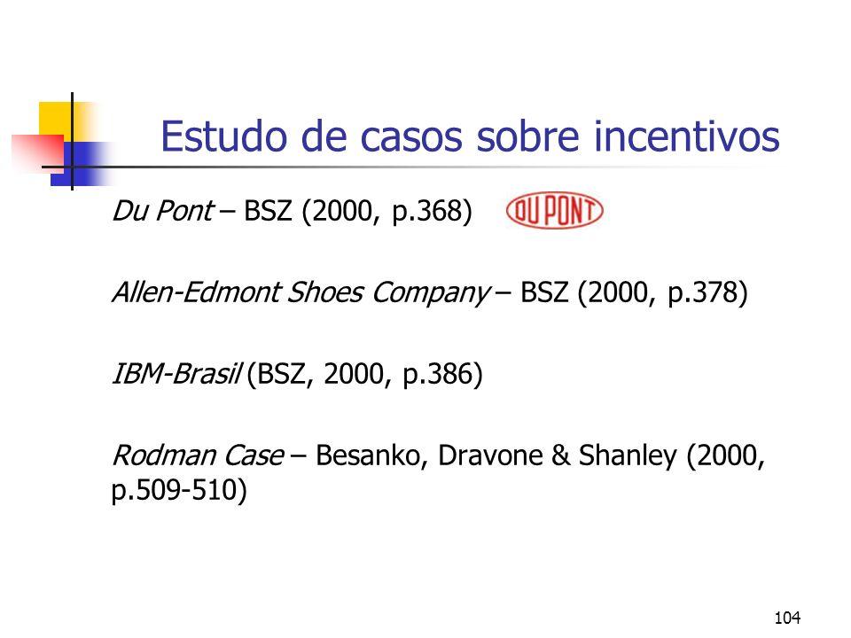 Estudo de casos sobre incentivos