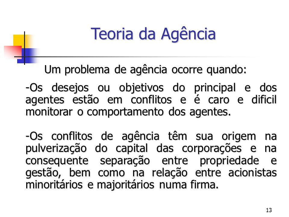 Teoria da Agência Um problema de agência ocorre quando: