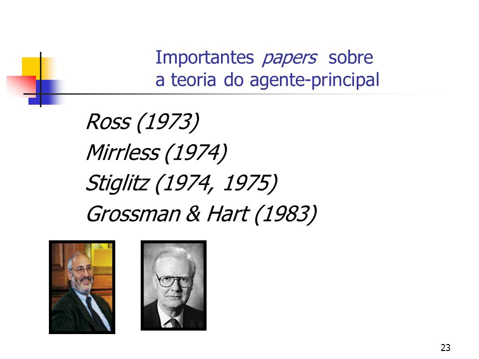 Importantes papers sobre a teoria do agente-principal
