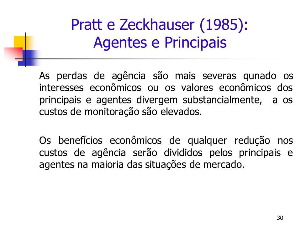 Pratt e Zeckhauser (1985): Agentes e Principais