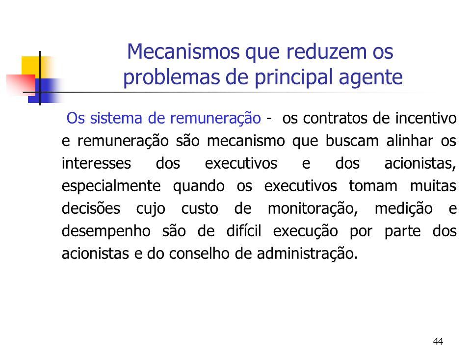 Mecanismos que reduzem os problemas de principal agente