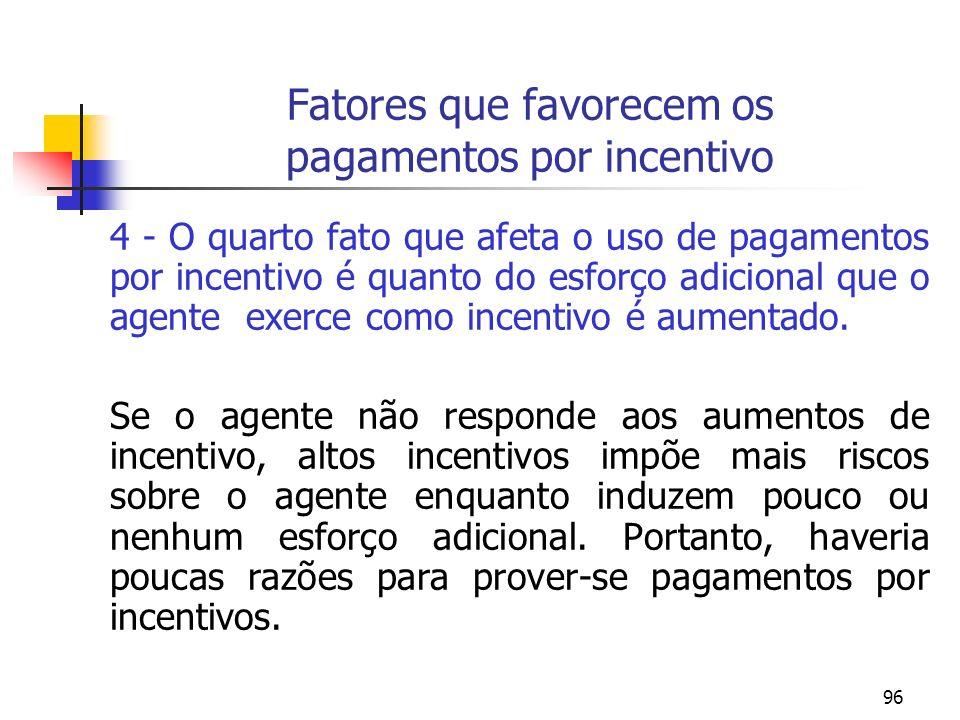 Fatores que favorecem os pagamentos por incentivo