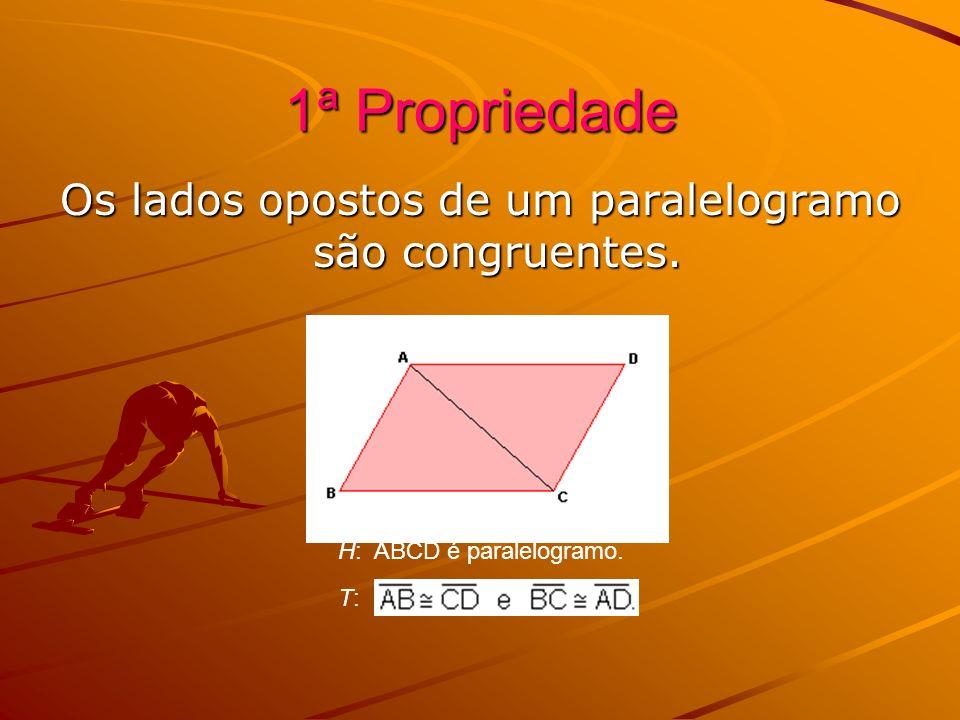 Os lados opostos de um paralelogramo são congruentes.