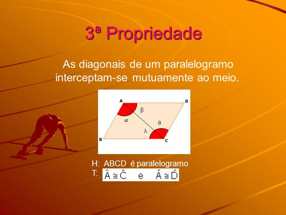3ª Propriedade As diagonais de um paralelogramo