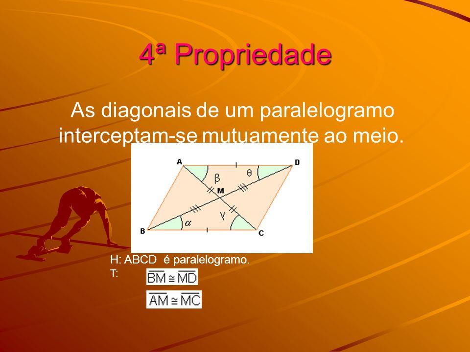 4ª Propriedade As diagonais de um paralelogramo