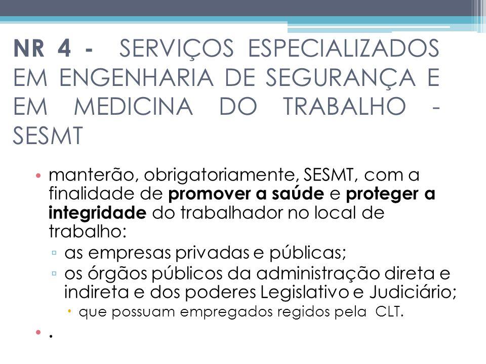 NR 4 - SERVIÇOS ESPECIALIZADOS EM ENGENHARIA DE SEGURANÇA E EM MEDICINA DO TRABALHO - SESMT