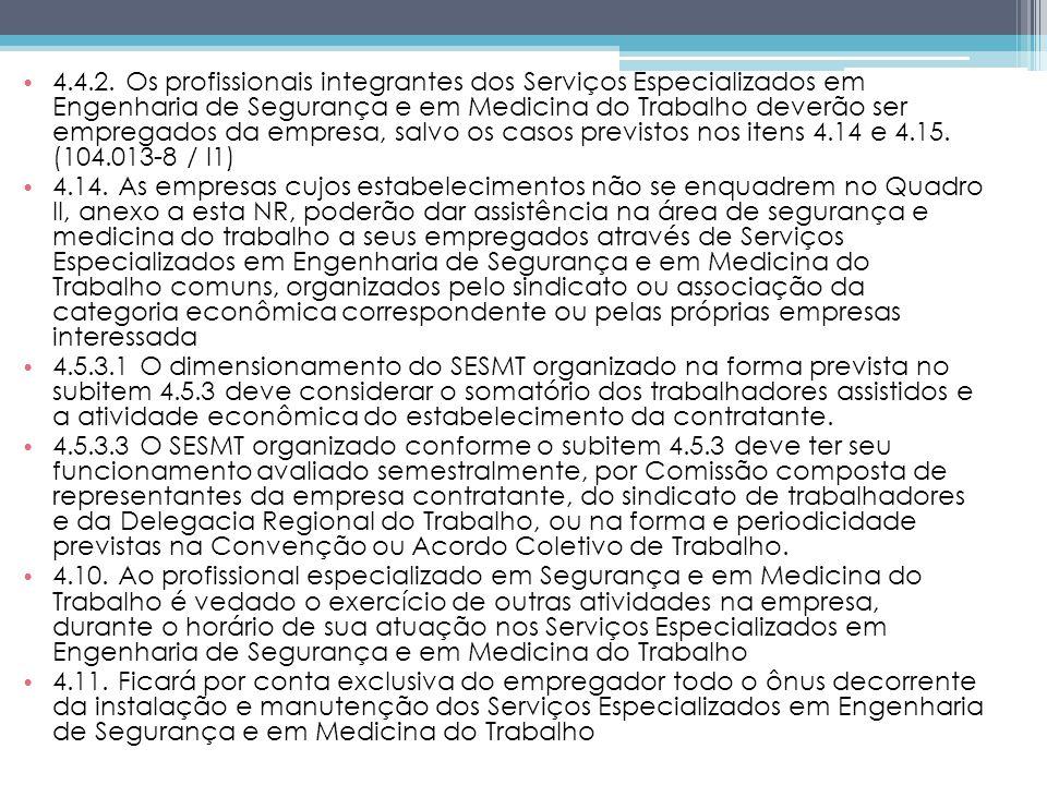 4.4.2. Os profissionais integrantes dos Serviços Especializados em Engenharia de Segurança e em Medicina do Trabalho deverão ser empregados da empresa, salvo os casos previstos nos itens 4.14 e 4.15. (104.013-8 / I1)