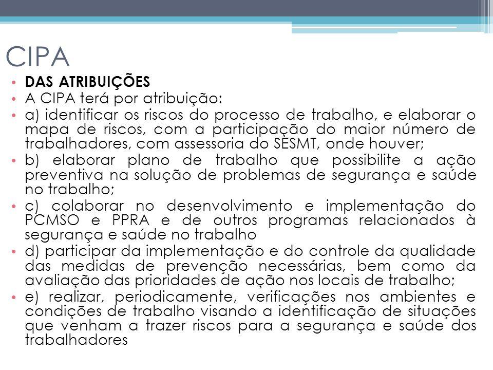 CIPA DAS ATRIBUIÇÕES A CIPA terá por atribuição: