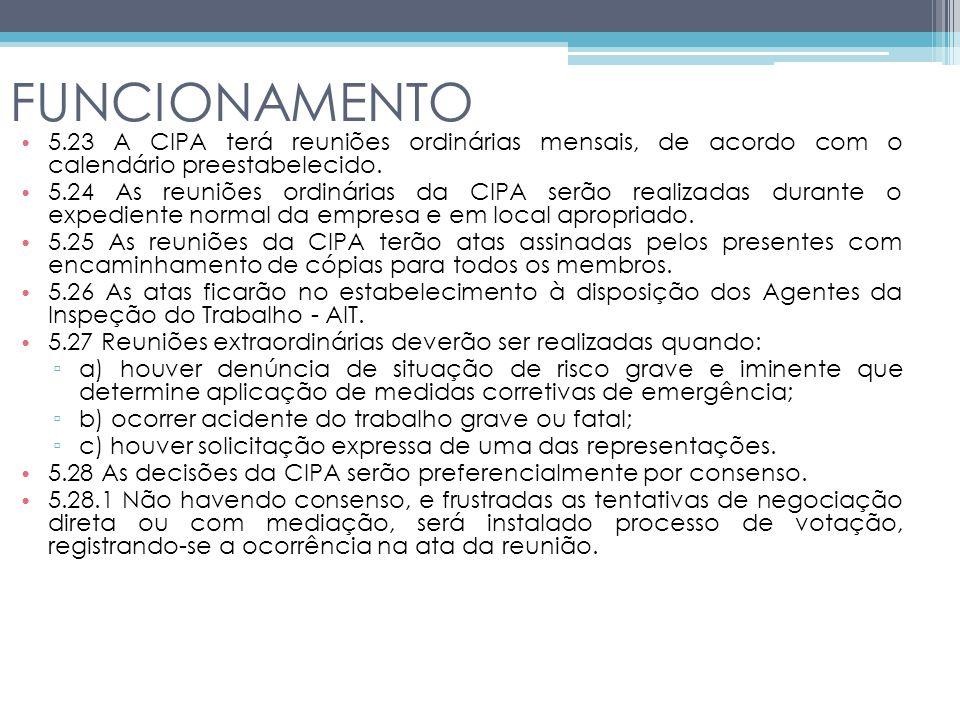 FUNCIONAMENTO 5.23 A CIPA terá reuniões ordinárias mensais, de acordo com o calendário preestabelecido.