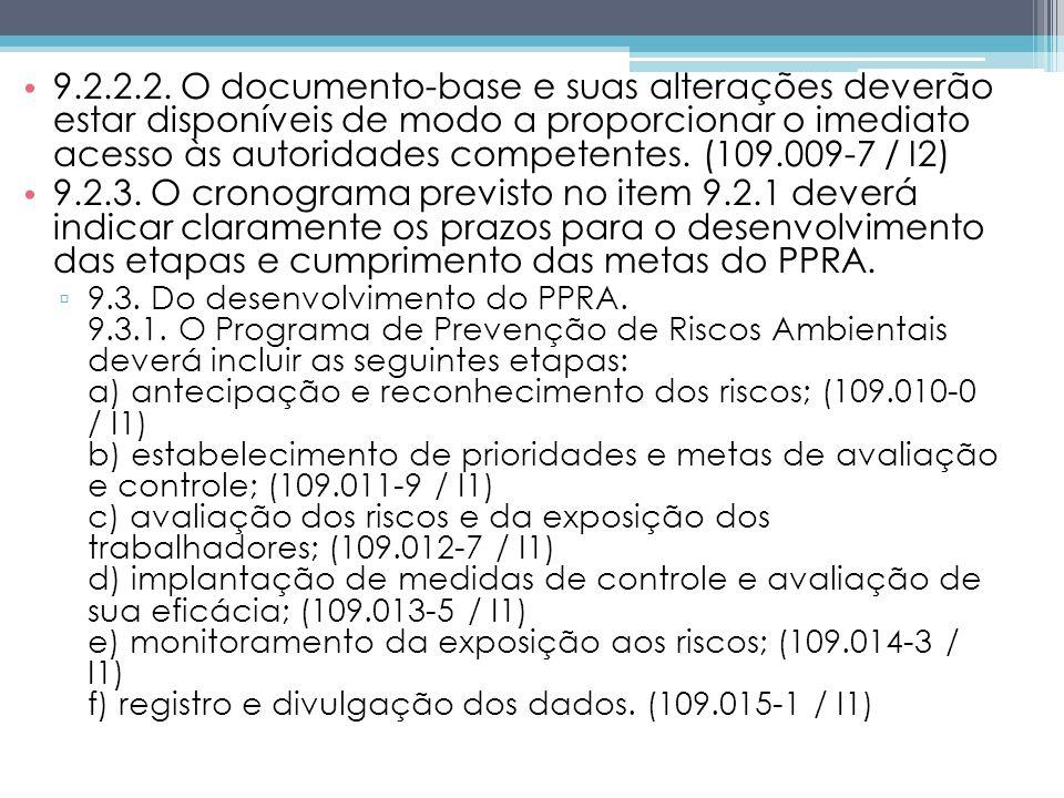 9.2.2.2. O documento-base e suas alterações deverão estar disponíveis de modo a proporcionar o imediato acesso às autoridades competentes. (109.009-7 / I2)