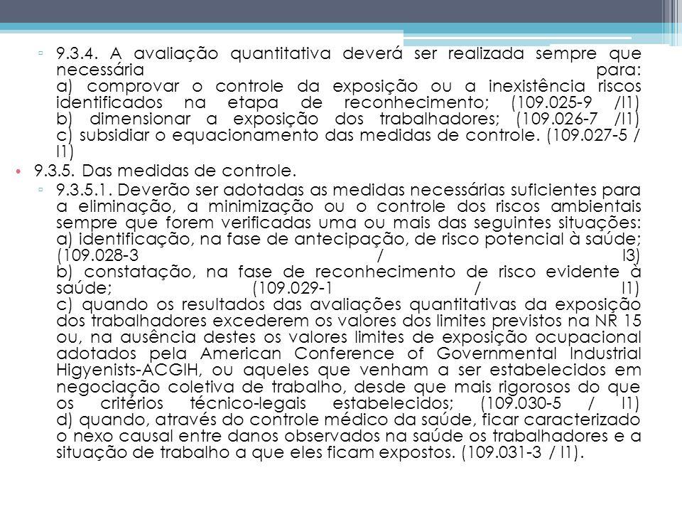9.3.4. A avaliação quantitativa deverá ser realizada sempre que necessária para: a) comprovar o controle da exposição ou a inexistência riscos identificados na etapa de reconhecimento; (109.025-9 /I1) b) dimensionar a exposição dos trabalhadores; (109.026-7 /I1) c) subsidiar o equacionamento das medidas de controle. (109.027-5 / I1)