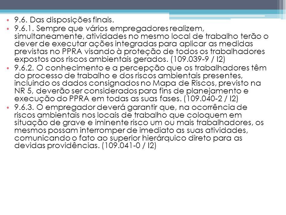 9.6. Das disposições finais.