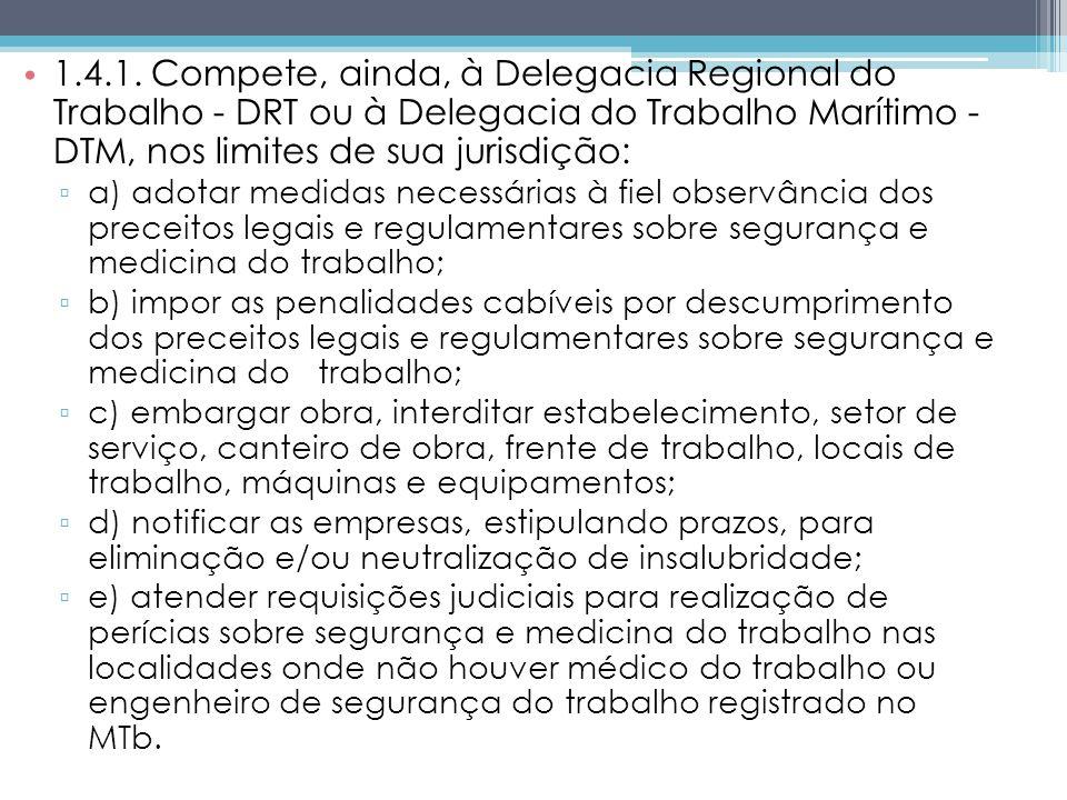 1.4.1. Compete, ainda, à Delegacia Regional do Trabalho - DRT ou à Delegacia do Trabalho Marítimo - DTM, nos limites de sua jurisdição: