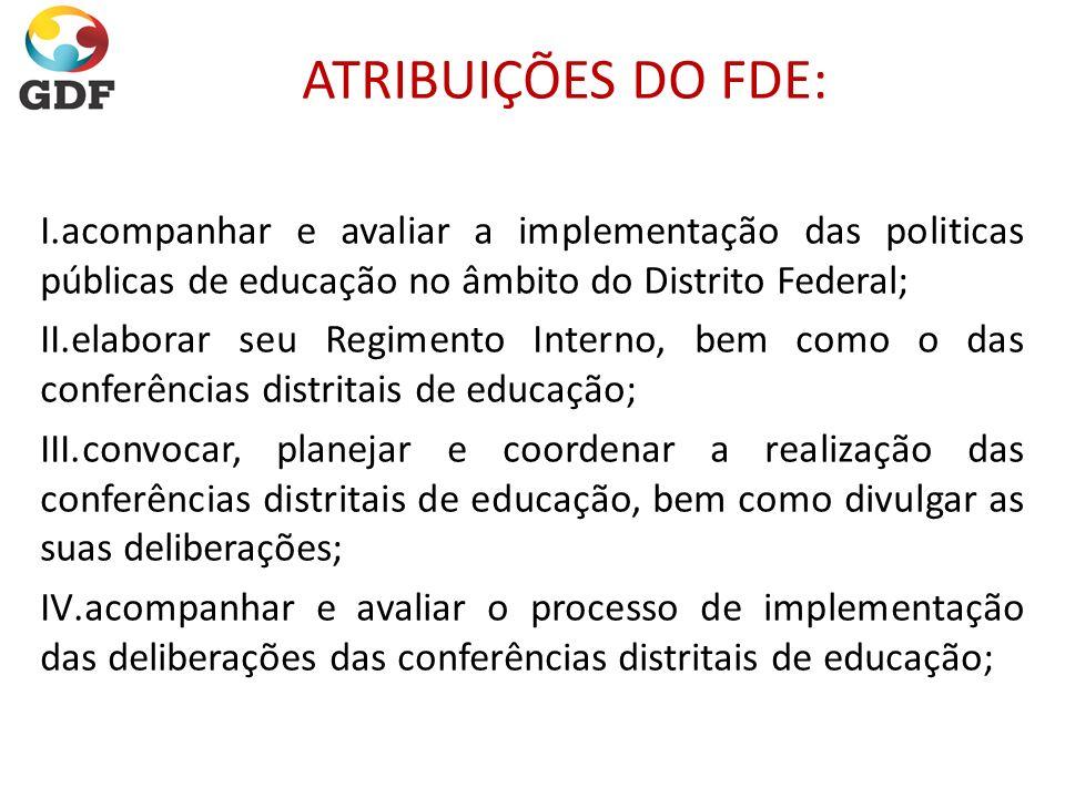 ATRIBUIÇÕES DO FDE: acompanhar e avaliar a implementação das politicas públicas de educação no âmbito do Distrito Federal;
