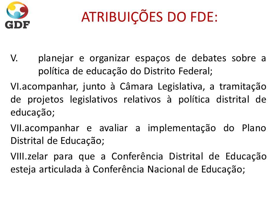 ATRIBUIÇÕES DO FDE: V. planejar e organizar espaços de debates sobre a política de educação do Distrito Federal;