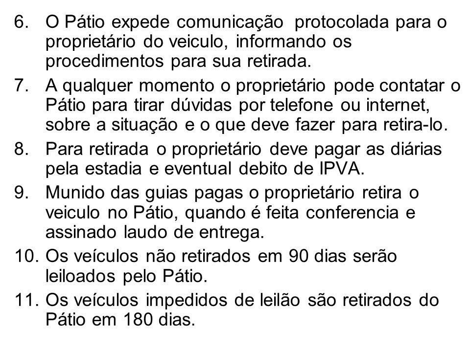 O Pátio expede comunicação protocolada para o proprietário do veiculo, informando os procedimentos para sua retirada.