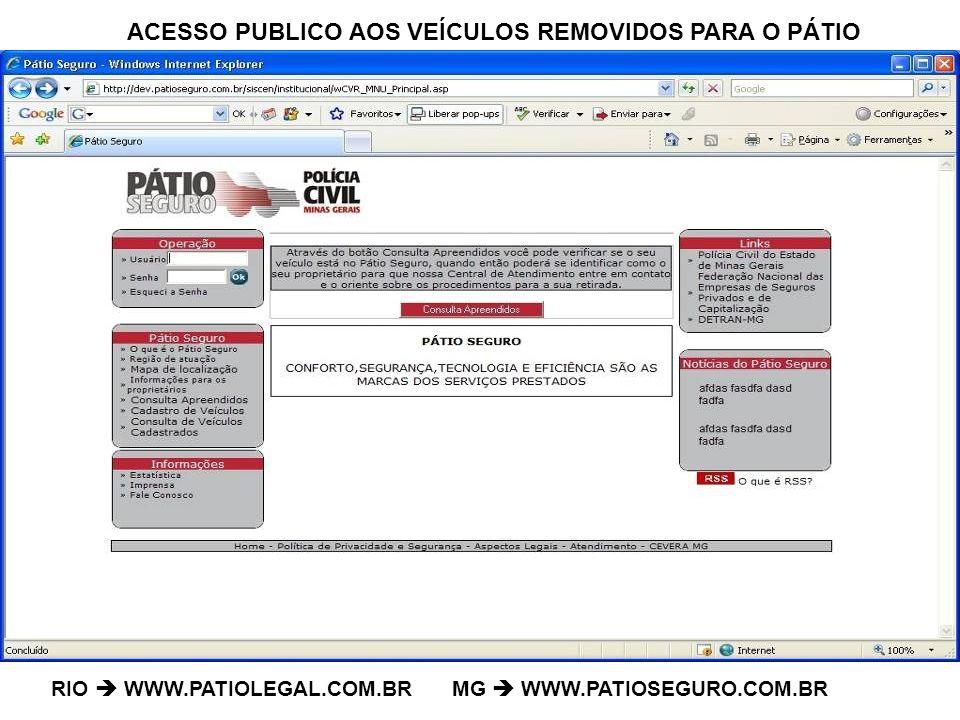 ACESSO PUBLICO AOS VEÍCULOS REMOVIDOS PARA O PÁTIO