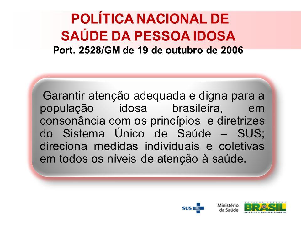 SAÚDE DA PESSOA IDOSA Port. 2528/GM de 19 de outubro de 2006