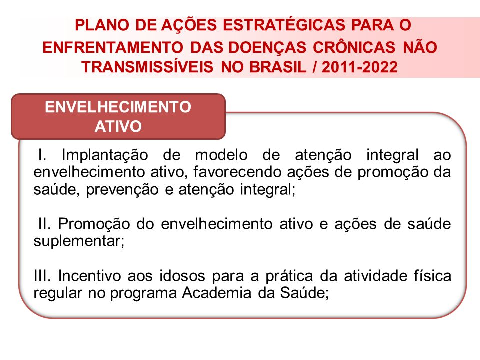 PLANO DE AÇÕES ESTRATÉGICAS PARA O ENFRENTAMENTO DAS DOENÇAS CRÔNICAS NÃO TRANSMISSÍVEIS NO BRASIL / 2011-2022