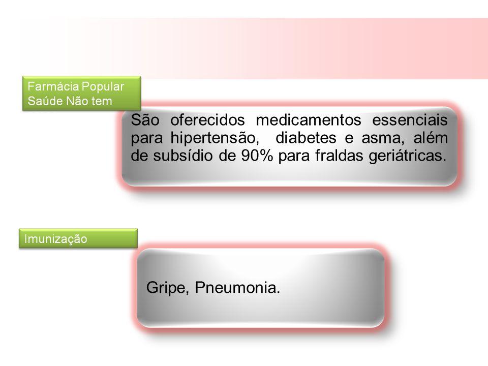São oferecidos medicamentos essenciais para hipertensão, diabetes e asma, além de subsídio de 90% para fraldas geriátricas.