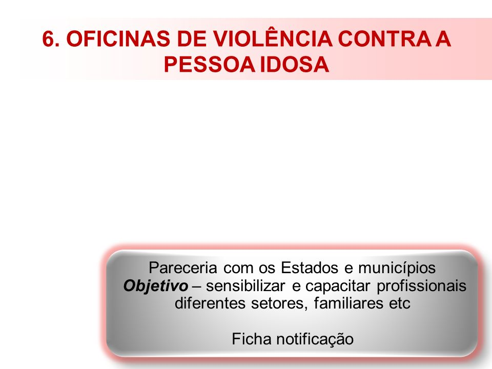 6. OFICINAS DE VIOLÊNCIA CONTRA A PESSOA IDOSA