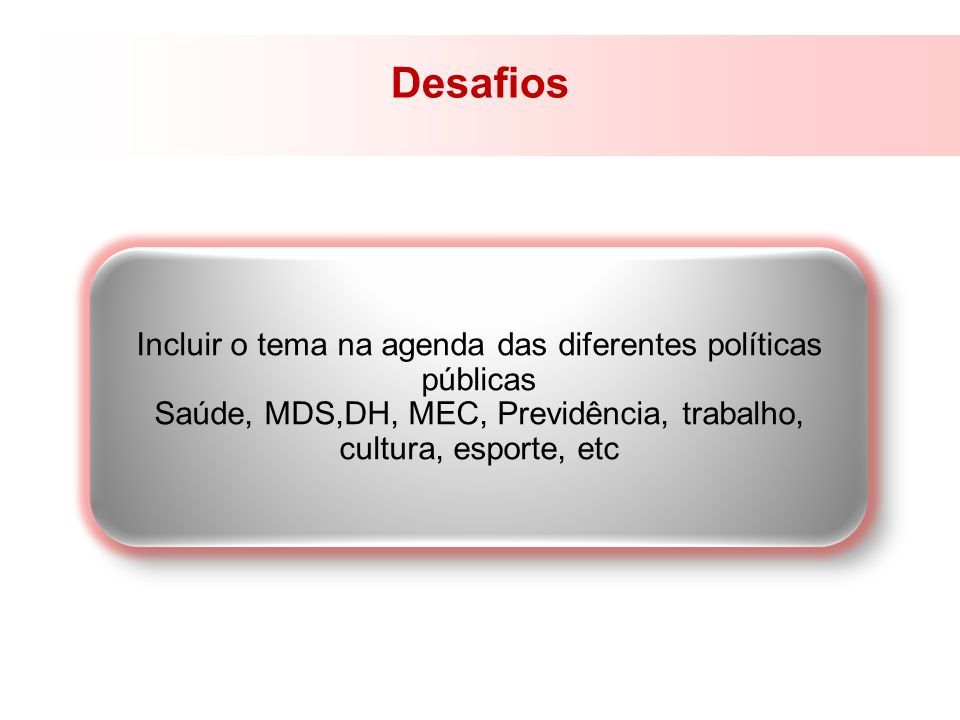 Desafios Incluir o tema na agenda das diferentes políticas públicas