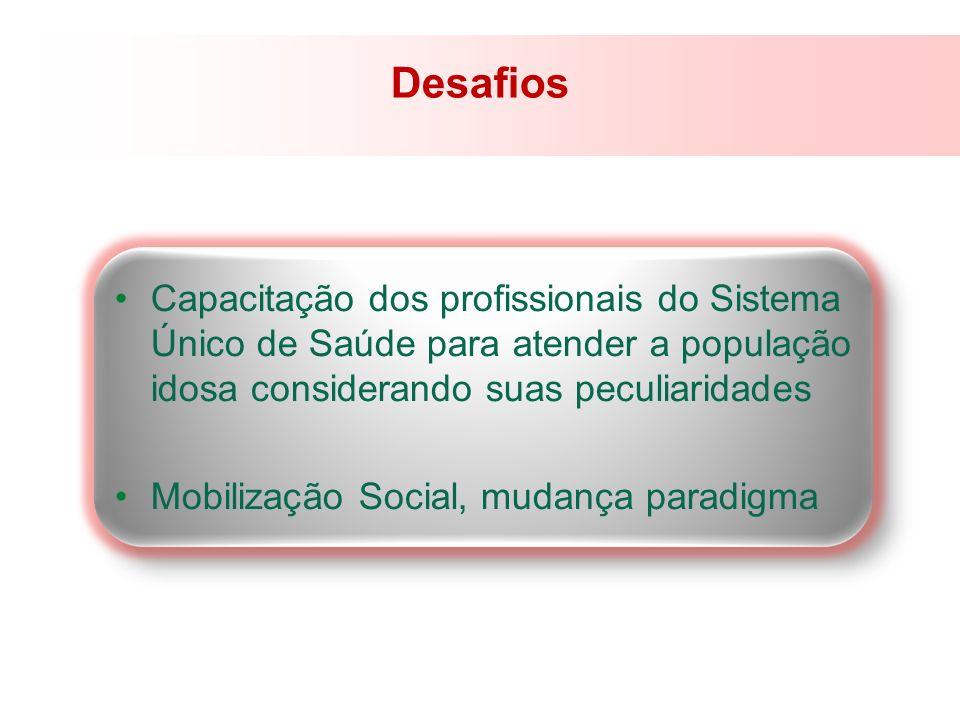 DesafiosCapacitação dos profissionais do Sistema Único de Saúde para atender a população idosa considerando suas peculiaridades.