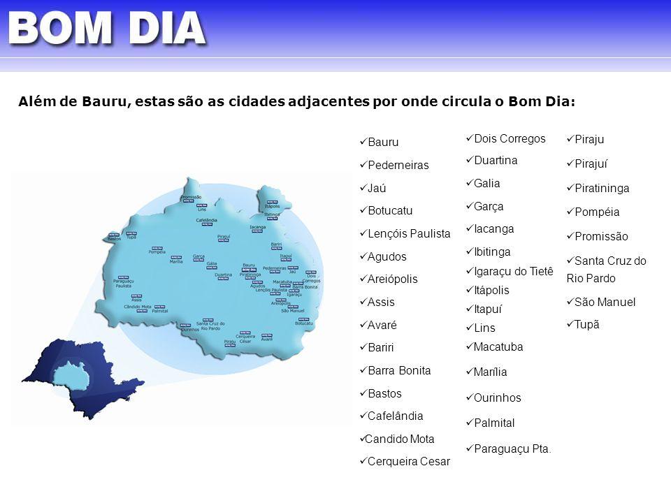 Além de Bauru, estas são as cidades adjacentes por onde circula o Bom Dia: