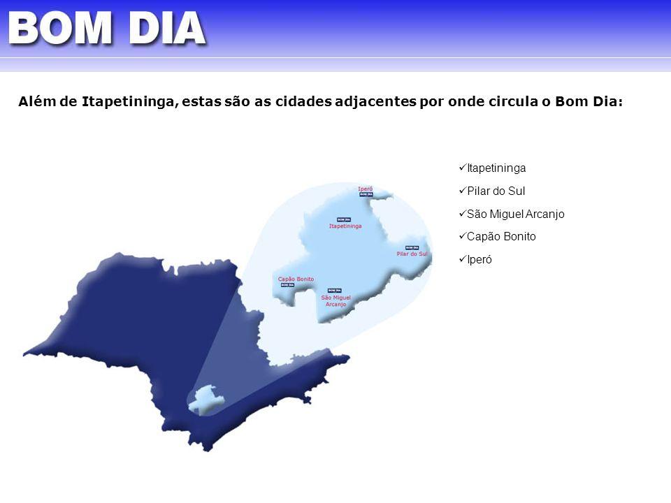 Além de Itapetininga, estas são as cidades adjacentes por onde circula o Bom Dia: