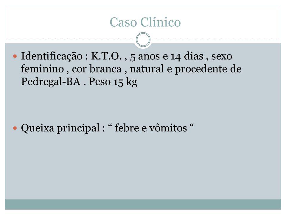 Caso Clínico Identificação : K.T.O. , 5 anos e 14 dias , sexo feminino , cor branca , natural e procedente de Pedregal-BA . Peso 15 kg.