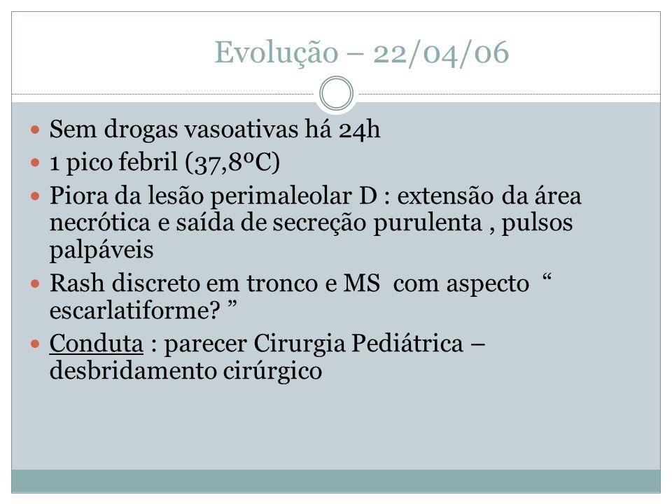 Evolução – 22/04/06 Sem drogas vasoativas há 24h
