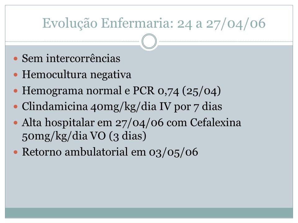 Evolução Enfermaria: 24 a 27/04/06