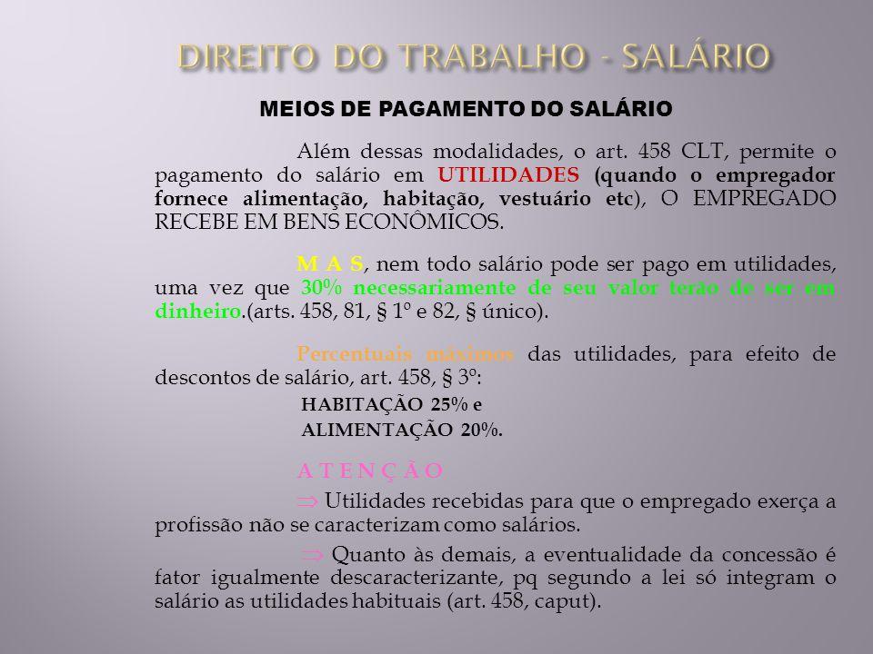 DIREITO DO TRABALHO - SALÁRIO