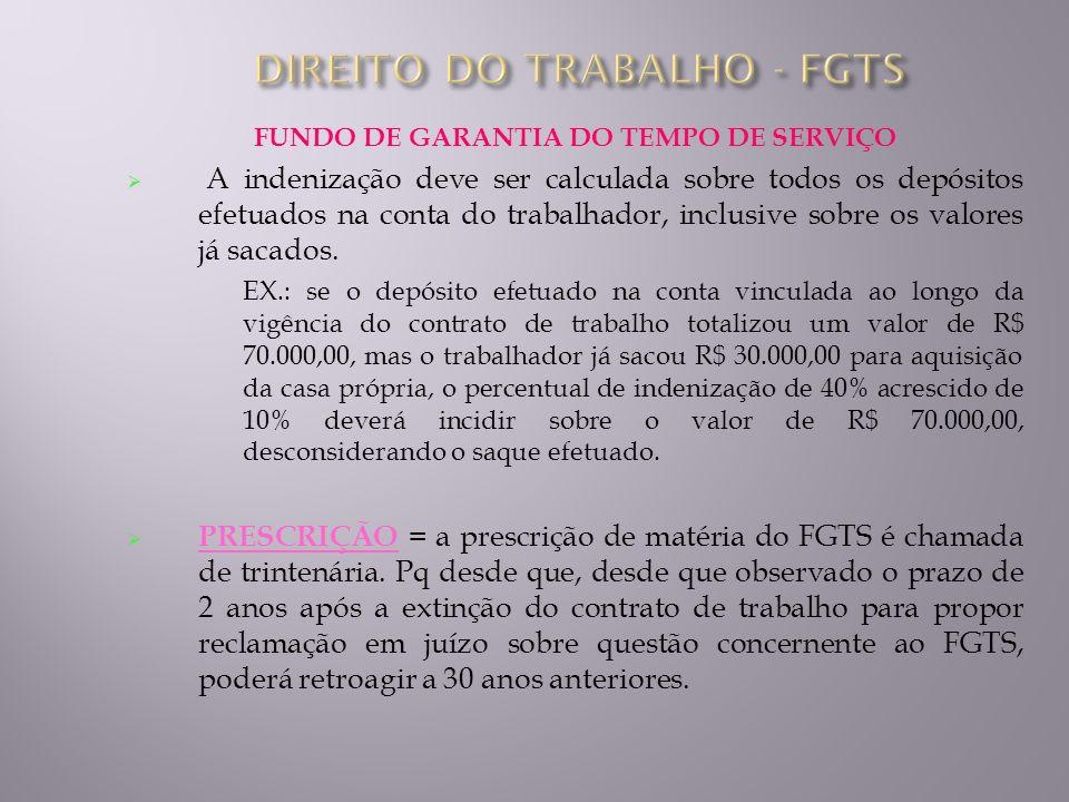 DIREITO DO TRABALHO - FGTS