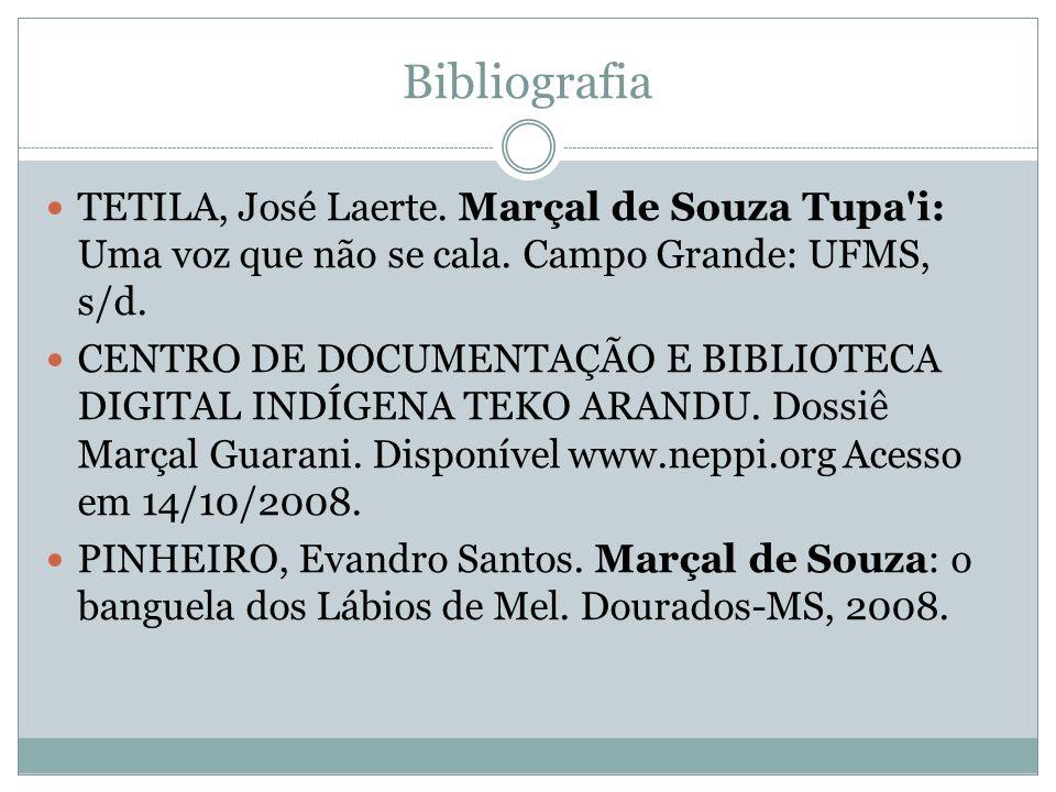 BibliografiaTETILA, José Laerte. Marçal de Souza Tupa i: Uma voz que não se cala. Campo Grande: UFMS, s/d.