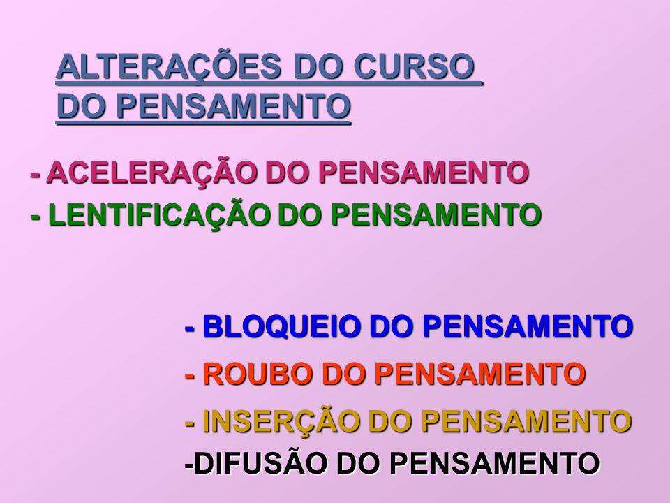 ALTERAÇÕES DO CURSO DO PENSAMENTO - ACELERAÇÃO DO PENSAMENTO