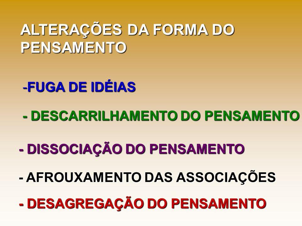 ALTERAÇÕES DA FORMA DO PENSAMENTO FUGA DE IDÉIAS
