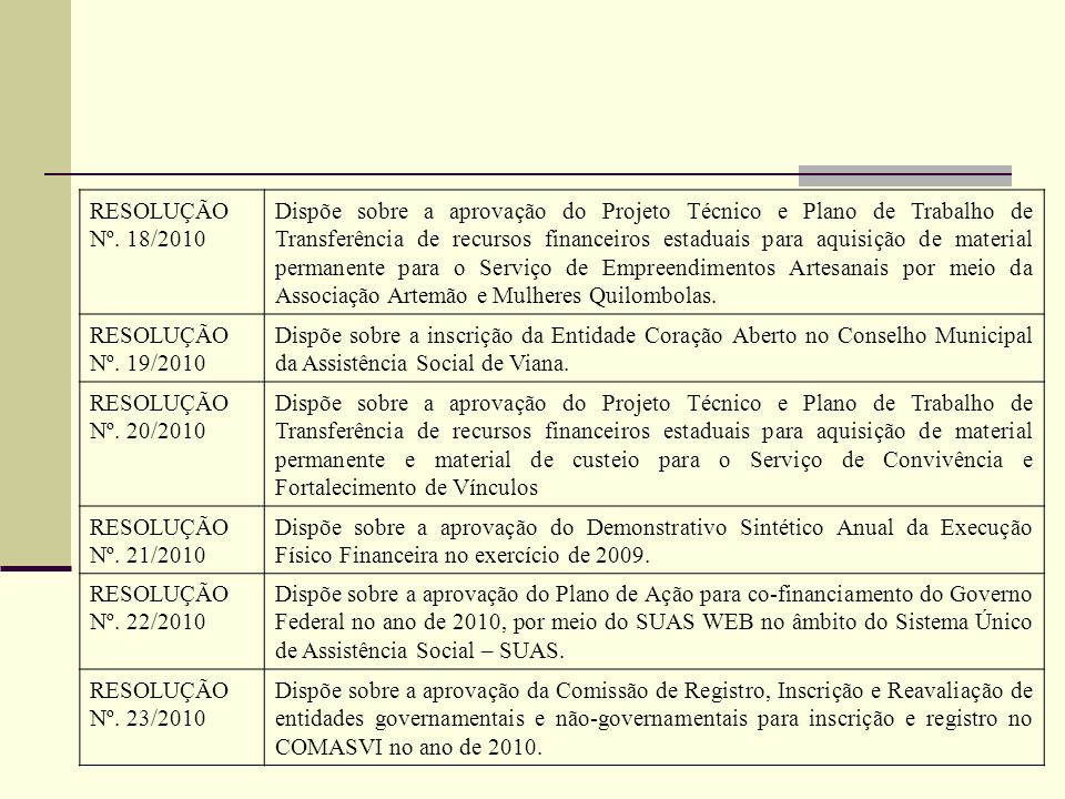 RESOLUÇÃO Nº. 18/2010