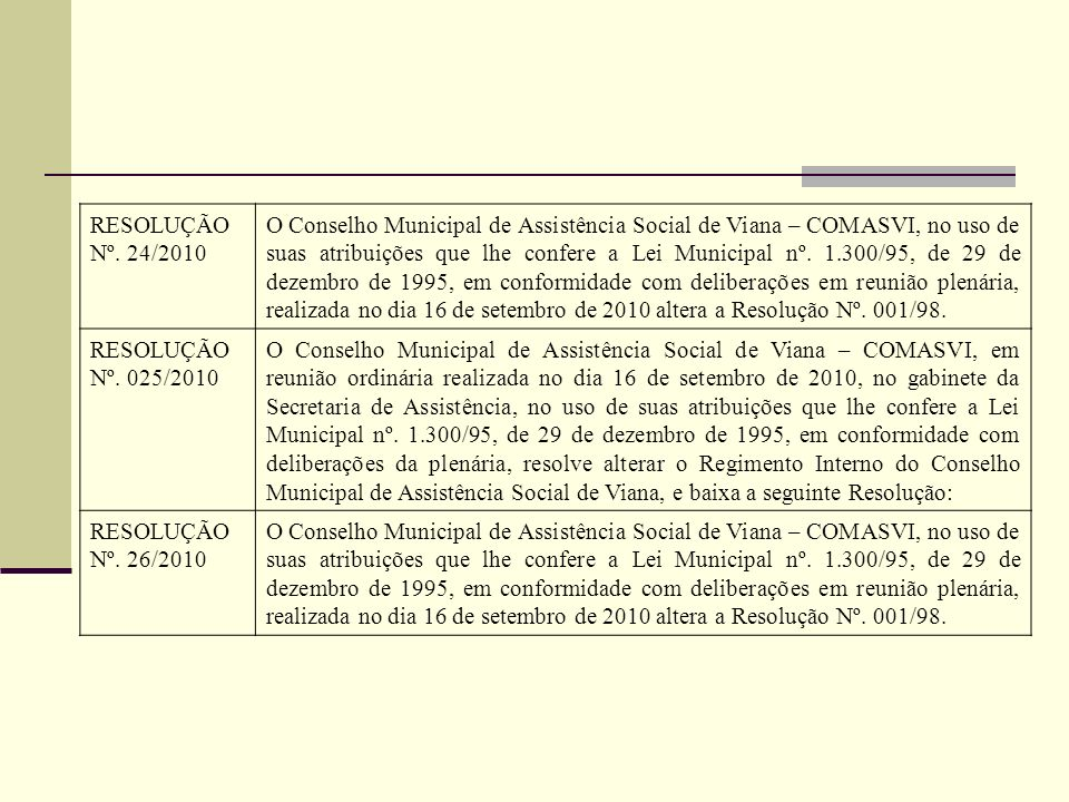 RESOLUÇÃO Nº. 24/2010